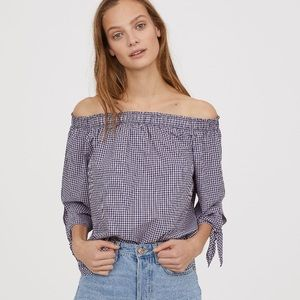 H&M off the shoulder top in pink/navy checked